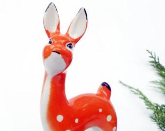 Deer figurine Fawn figurine Deer sculpture Young deer statue Bambi Reindeer Orange porcelain figurine Porcelain deer Roe deer Soviet USSR
