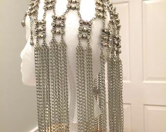Silver Chain Cap. Silver Chain Headpiece. Crystal Head Jewelry. Hair Iron Chain Cap. Fashion Hair Jewelry. Chain Headdress. Hair Accessory.