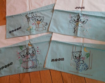 Sweet Vintage Hand Embroidered Kitten Towels...Set of 4...NOS Kitty...Wedding Theme