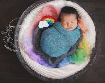 Crochet RAINBOW applique, rainbow BABY, Photography Prop, rainbow, Newborn, BABY, Crochet, baby shower gift