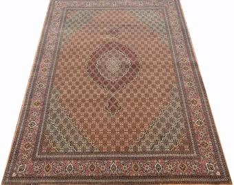 Fish Design 7x10 Tabriz Rug Salmon Color Hand Woven Persian Rug