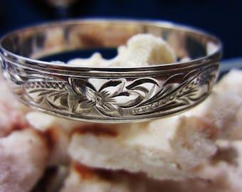 12mm Sterling Silver Hand Engraved Hawaii Hawaiian Bangle Bracelet small 7 inch Princess Plumeria Flower Scroll