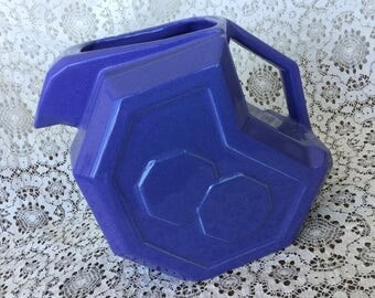 Alamo Pottery water pitcher, periwinkle, disc pitcher, refrigerator pitcher, 759