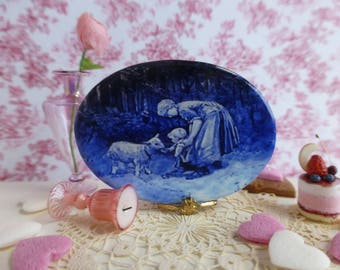 Royal Delft Blue Mother and Child feeding a Goat Dollhouse Miniature Porcelain Tray