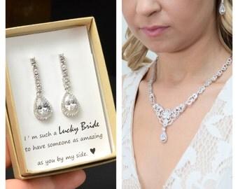 Bridesmaid Gift, Bridesmaid Jewelry Set, Bridesmaid Earrings,Necklace earrings Bracelet Set,Personalized Bridesmaid Gift,Wedding Jewelry Set
