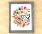 Colorful Geometric Floral Bunch / Archival Art Print of Original Artwork / Modern Floral Wall Art