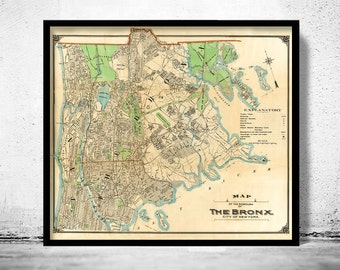 Old Map of Bronx New York 1900 - fine reproduction