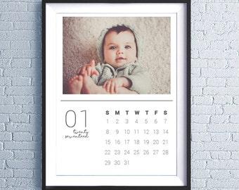 "Custom Printable Personalized Calendar 2017, Photo Calendar, Wall Calendar, Christmas Gift, Family Photos, 8.5x11"""