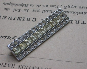 French vintage art deco white diamond like crystal faceted cabochon stick ornate brooch bronze brooch silver brooch
