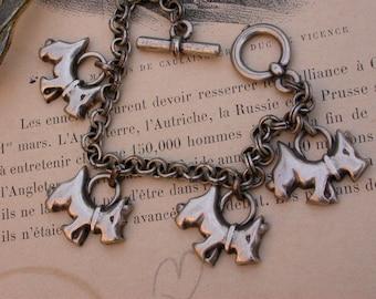 vintage silver dog bracelet stamped engraved dog pendant bracelet terrier girl bracelet