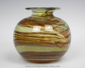 Isle of Wight Studio Glass 'Tortoiseshell' globe vase