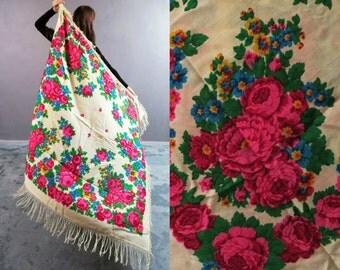 Vintage Russian Babushka White Floral Wool Shawl With Tassels