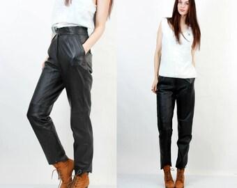 Vintage 80s Leather Pants / Black Leather Pants / High Waist Pants / Pleated Pants / Moto Pants / Goth Pants / Grunge Pants Size S / M