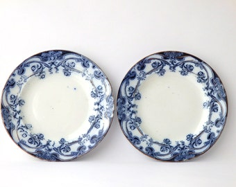 "Antique Plate Royal Semi Porcelain Flo Blue Set of Two Plates Seven 1/8"" Dessert Gold Lusitania Alfred Colley Kitchen Decor Blue"