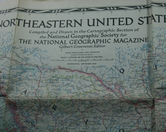 The National Geographic Magazine MAP of Northeastern United States, Vintage Map, Vintage Paper, Ephemera, 1945, framing, craft,  A-212