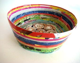 Coiled Paper Basket, Paper Basket, Coiled Basket, Round Basket, Storage Basket, Decorative Basket, Handmade Basket, Small Basket