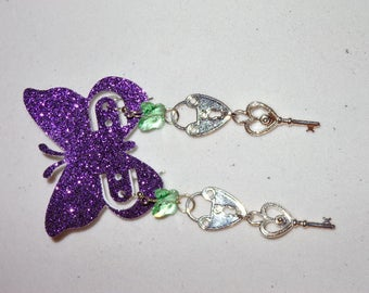 Butterfly lock and key earrings