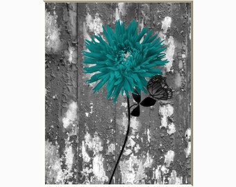 Teal Wall Pictures, Rustic Teal Gray Floral Decor, Floral Butterfly Teal Bathroom Bedroom Matted Picture