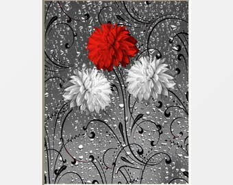 Red Gray Flowers Raindrops Modern Bathroom Powder Room Red Home Wall Art Decor Matted Picture