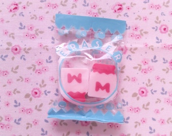 Erasers Bag Milk Kutsuwa Japan Vintage 80s