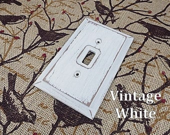 Rustic Switch Plate, Wood Light Switch Cover, Rustic White Switch Plate, Wall Plate, Shabby Light Switch Plate, Primitive Switch Plate