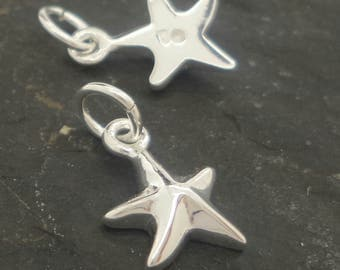 Sterling silver star pendant ,  solid silver star charm  , sterling silver 925 starfish charm