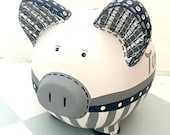 Personalized Piggy Bank, Boy Piggy Bank, Jumbo Sized Bank, Large Painted Piggy Bank, MADE TO ORDER