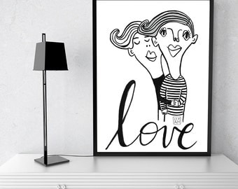 LOVE. Print, Black and White, Poster, Engagement Gift, Engagement Print, Archival Print. Poster 50x70cm. Illustration art. Made with love.