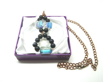 Wirework Blue Goldstone Beads and Oblong Blue Glass Beads Pendant Copper Chain Necklace