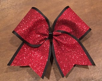 Cheer Bow - Red Glitter on Black