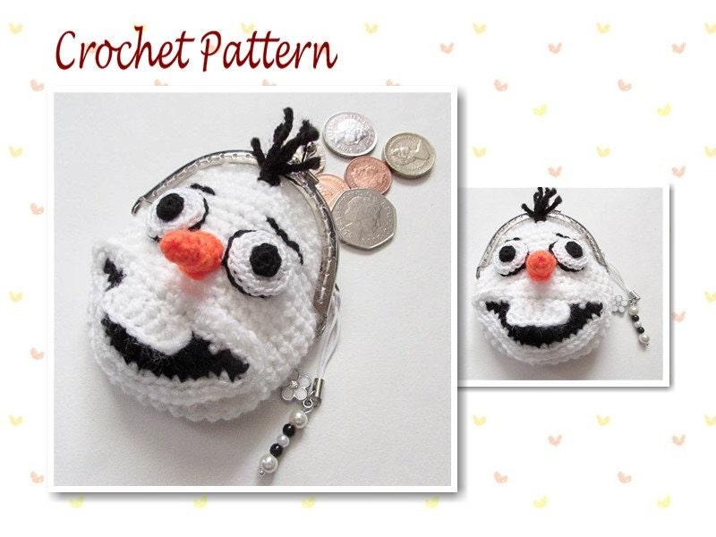 Crochet Pattern Olaf Frozen Coin Purse snowman bag girls purse