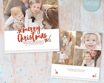 Christmas Card Template - Photoshop template - AC089 - INSTANT DOWNLOAD