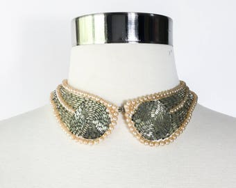 vtg 1950s pearl and beaded collar choker necklace / Art Deco inspired circles / hand made japan / pinup cardigan collar