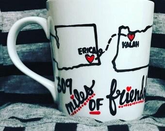 Best Friend GIFT BFF- Best friend distance mug- states bff mug anniversary valentines day state mug city mug miles of friendship