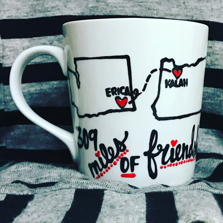 Best Friend GIFT BFF Best friend distance mug states bff mug