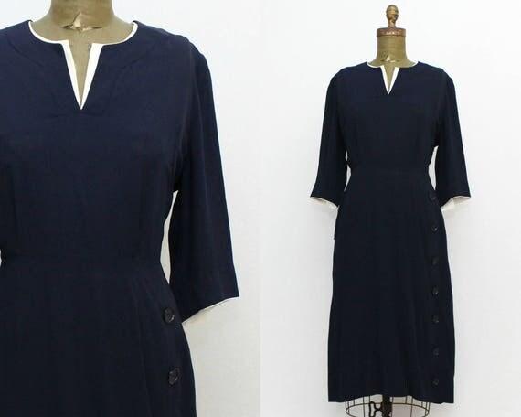 40s Navy Dress - Size Large Vintage 1940s Rayon Pleated Secretary Dress