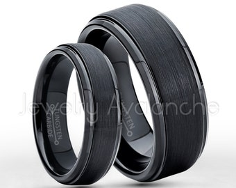 Tungsten Wedding Band Set, 6mm & 8mm Black Tungsten Carbide Wedding Rings, Bride and Groom Ring, Matching Anniversary Rings TN085-083