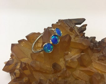 Triple Blue Opal Sterling Silver Ring Size 6.5 by oldmanwithers
