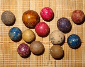 Lot of 13 Antique/Vintage Clay Marbles / Collectible Marbles / Game Marbles / Toy Marbles / Lot #2