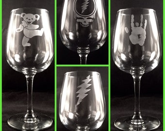 Single Grateful Dead Wine Glasses Hand Etched | Steal Your Face, Dancing Bear, Jerry Garcia Hand, 13 Point Lightning Bolt