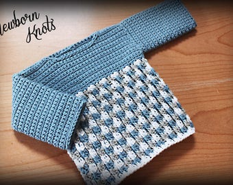 CROCHET PATTERN For Baby Boy or Girls Cable Link Shells Sweater. Pattern number 045. Instant Download
