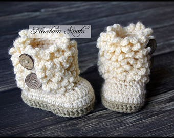 Crochet Pattern Faux Fur Baby Booties. Pattern number 073. Instant Download