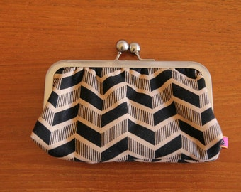 SUNGLASSES CASE or PURSE. Print fabric outer with plain teal lining. Metal snap clasp. Metal frame purse.