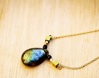 AAA high quality Labradorite and Onyx Necklace, Boho, Bohemian necklace