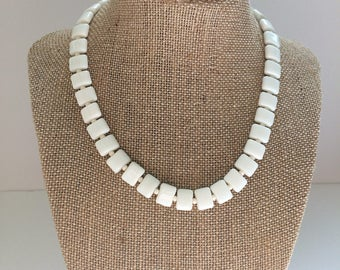 White Square Bead Necklace