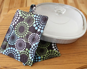 Pot Holder and Oven Mitt, Brown with Aqua, Green and White Circle Print, Hotpads, Oven Mitt, Trivets, 2 pc. set