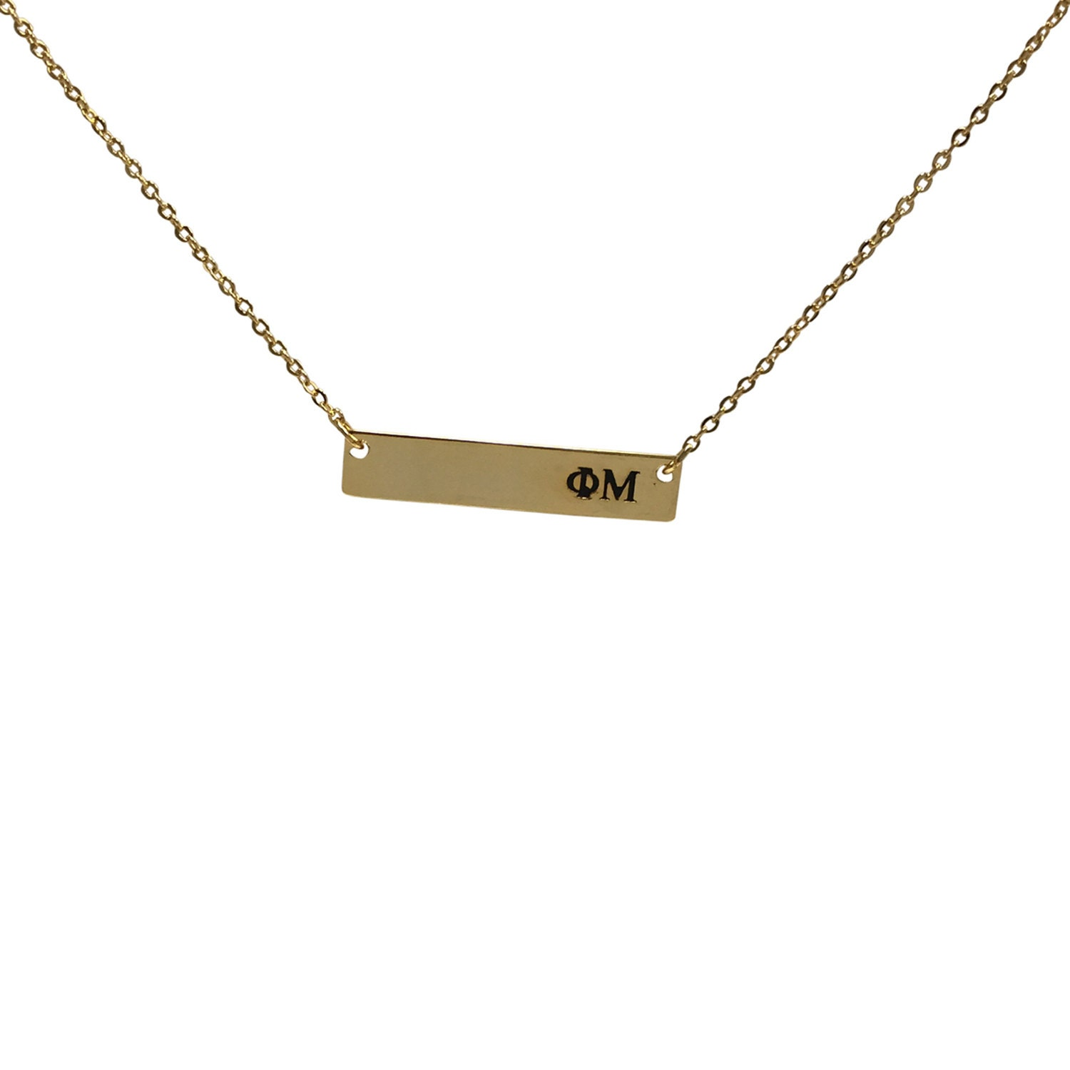 phi mu bar necklace 24k gold plated