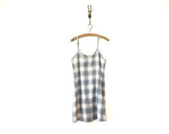 90s Vintage Plaid Slip Dress / Short Plaid 90s Grunge Dress