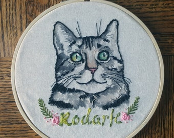Custom Pet Portrait, Cat Lover Gift, Cat Portrait, Dog Lover Gift, Dog Portrait, Handmade Wall Decor Embroidery Hoop Art, Personalized Gift