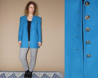 80's vintage women's blue wool ESCADA costume blazer/coat